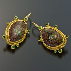 22kt gold granulation earrings yowah boulder opal garnets