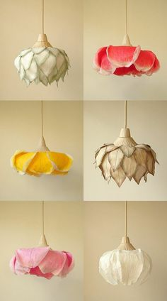 Paper lights - buy or do it yourself?Paper lights by Sachie Muramatsu colored flowers Step Grab Your Craft Supplies. The pre-requisites to make this beautiful DIY Floral Craft for Deco. Diy Luminaire, Home And Deco, Lamp Light, Diy Light, Light Table, Paper Flowers, Hanging Flowers, Diy Flowers, Exotic Flowers
