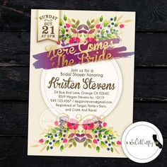 Here Comes The Bride Bridal Shower Invitation by SoCalCrafty. Printed or Printable. $16+