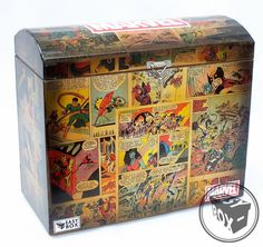 Caixa Baú MDF Hq's decorada Marvel Comics Chest