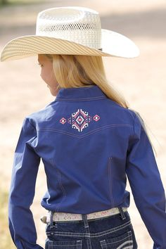 Cruel Girl Navy Plain Weave Solid Long Sleeve Button Up Western Shirt CTW3280001