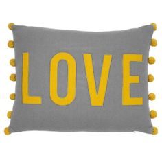 George Home Grey Love Felt Cushion - Mustard And Grey Bedroom, Mustard Living Rooms, Bedroom Yellow, Yellow And Grey Cushions, Yellow Kids Rooms, Cosy Bedroom, Bedroom Ideas, Teen Bedroom, Nursery Ideas