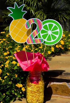 Tutti Frutti Centerpieces Tutti Frutti Birthday Party Decorations All Fruity Centerpieces Twotti F - Modern Watermelon Birthday Parties, Fruit Birthday, Flamingo Birthday, Fruit Party, Hawaiian Birthday, 2nd Birthday Party For Girl, Second Birthday Ideas, Tutti Fruity Party, Birthday Party Centerpieces