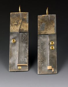 Earrings   Roger Rimel.  Sterling silver, 14 k. gold, 18 k. gold, fused gold on silver,  yellow sapphires