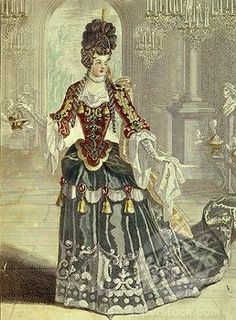 Marie-Louise DESMATINS, 1670-1708 French soprano opera singer, at the OpÄra, 17th century French engraving by Berey