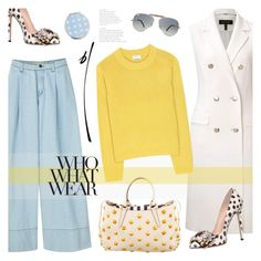 """Happiness is Yellow and Blue"" by bklana ❤ liked on Polyvore featuring ESCADA, Acne Studios, Fendi, GEDEBE, Ray-Ban, Who What Wear, Miss Selfridge and bklana"