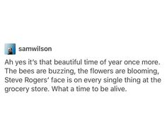 Beautiful time of year: bees are buzzing flowers blooming and Steve Rodgers face is on everything at the grocery store avengers Marvel Memes, Marvel Dc, Marvel Comics, Avengers Memes, I Am Batman, Dc Movies, Stucky, Bucky Barnes, The Villain