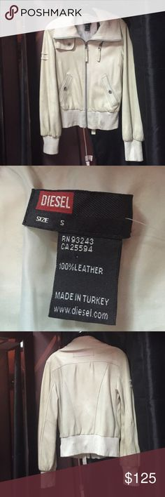 Diesel 100% real leather bomber jacket Diesel 100% real leather bone bomber jacket with elastic sweater material at collar, cuffs and bottom. Excellent condition. Diesel Jackets & Coats