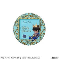 Baby Shower Blue Gold Boy crown prince Favor Candy Tins