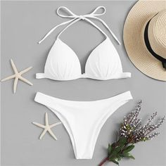 Shop Triangle Top With Cheeky Bikini Set online. SHEIN offers Triangle Top With Cheeky Bikini Set & more to fit your fashionable needs. Push Up Bikini, High Leg Bikini, Cheeky Bikini, Cute Bikinis, Cute Swimsuits, Summer Bikinis, One Piece Swimwear, Bikini Swimwear, Triangel Bikini