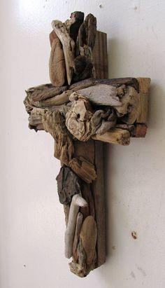 Simbolo religioso di Driftwood Croce rustico Beach Home