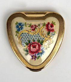 Vintage Gifts, Unique Vintage, Bargello, Change Purse, Round Mirrors, Fiber Art, Needlepoint, Heart Shapes, Coin Purse
