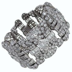 """View this item and discover similar for sale at - """"The most beautiful art deco diamond bracelet I have ever seen"""" says every person who views this stunning masterpiece in person. Diamond Bracelets, Gemstone Bracelets, Diamond Jewelry, Jewelry Bracelets, Link Bracelets, Royal Jewelry, Bangles, Jewellery, Art Deco Jewelry"""