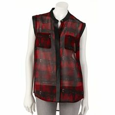 Rock and Republic Plaid Crepe Shirt, size SMALL $22