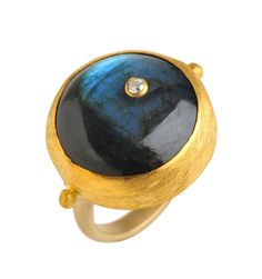 Gold Round Labradorite ring with an off side Diamond wrapped with 24K Gold Measurments of stone is 20 x 20mm