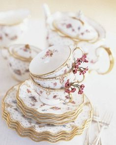 beautiful & delicate---Royal Derby Antoinette - bone chine tea set by Cith