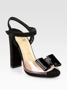 One Bow Suede & Patent Leather Sandal