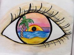 I drew this eye reflection using sharpies, color pencils and crayons for my elementary students as an example. Sunset beach.