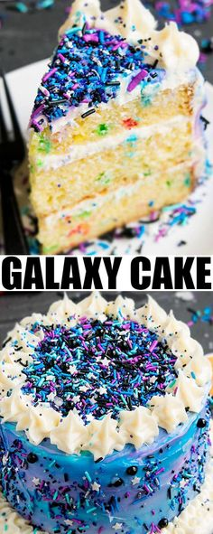 Quick and easy GALAXY CAKE tutorial made with frosting and lots of sprinkles. This galaxy birthday cake is perfect for kids space parties and an easy cake decorating idea {#Ad}. From cakewhiz.com @Pillsburybaking #DoughboySurprise Easy Cake Recipes, Frosting Recipes, Cupcake Recipes, Cupcake Cakes, 7 Cake, Sweet Desserts, Easy Desserts, Delicious Desserts, Chocolate Cake Pops