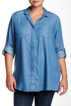 Roll Sleeve Lightweight Chambray Shirt (Plus Size) by Live a Little on @nordstrom_rack