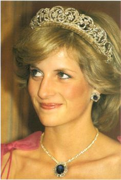 Princess Diana Attending a State Reception  Princess Diana wears a suite of sapphire and diamond jewels presented by the Crown Prince of Saudi Arabia, and the Spencer family tiara. Brisbane, Queensland, Australia ~ 4/11/1983