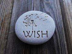 Wish Dandelion Engraved stones Valentines day by SeaStoneFrog