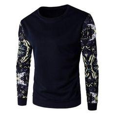 Floral Sleeve Rib Cuff Crew Neck Sweatshirt