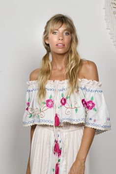 """""""Seeker Lover Keeper Nursing Dress"""" Embroidered Nursing Maxi Dress - Cross Stitch Fillyboo - Boho inspired maternity clothes online, maternity dresses, maternity tops and maternity jeans. Maternity Jeans, Maternity Tops, Maternity Dresses, Maternity Clothes Online, Nursing Dress, Hand Embroidery, Off Shoulder Blouse, Floral Tops, Cross Stitch"""