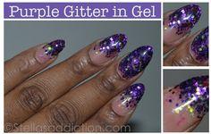 Stella's Addiction: NOTD: Purple Glitter in Gel Nail Art