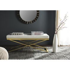 Safavieh Modern Glam Acra White/ Crocodile Bench