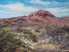 """""""Scents of the Desert"""" x pastel by Lindy Cook Severns I painted this landscape from along the River Road through Big Bend Ranch State Park immediately after we spent time there, while the fragrance of the flowering desert still permeated my senses. Dry Desert, Desert Art, Pastel Landscape, Landscape Paintings, High Desert Landscaping, Spring Wildflowers, Le Far West, Art Images, State Parks"""