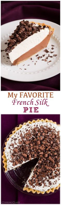 French Silk Pie (AKA Chocolate Lovers Dream Pie) - no raw eggs in this one! This is by far the best french silk pie I've ever had! A favorite for sure and my mom agreed.