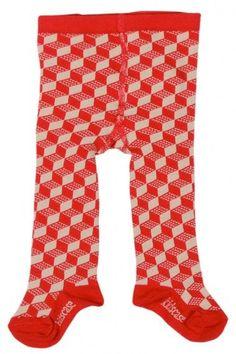 Collants Rouge géométrique façon lego pour bébé