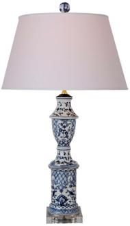 This elegant porcelain table lamp is accented with a crystal stand. Blue and white porcelain base. Style # at Lamps Plus. Blue And White China, Blue China, Blue Crush, Painted Floors, Beautiful Lights, Cool Lighting, White Patterns, White Porcelain, Chinoiserie