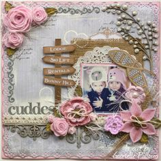Beautiful layout by Gabrielle Pollacco! Technique Tuesday with Bo Bunny & Felt Bloom Tutorial Wedding Scrapbook, Baby Scrapbook, Scrapbook Albums, Scrapbook Cards, Scrapbook Photos, Shabby, Mixed Media Scrapbooking, Scrapbook Page Layouts, Cardmaking