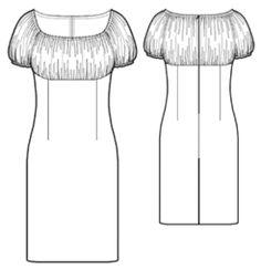 Vestido corte imperio con fruncido superior, mangas farol. example - #5432 Dress with gathered bodice