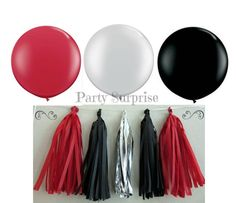 Balloon Tassel Garland Red Black Silver Foil by PartySurprise