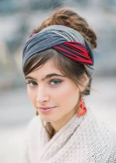 "Gray & Red Striped ""Infinity"" Style Half Head Covering"