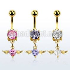 "#Gold #anodized #316L steel #bellyBanana, 14 g (1.6 mm) with a lower 8 mm prong set #cubicZirconia stone and a dangling heart shaped CZ stone with wings - length 3/8"" (10 mm). #Wholesale price is $2.43 US"