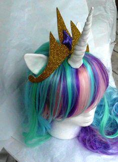Unicorn Wig, Princess Celestia, MLP Costume My Little Pony Pink, Green, Purple, Blue Pony Halloween, Unicorn Wig, Unicorn Costume on Etsy, $110.00