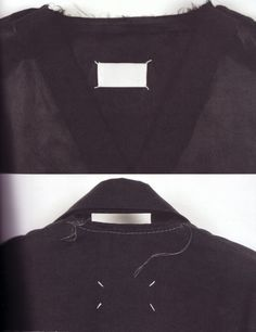 Original plain blank Maison Martin Margiela label, used in the early days of the maison's development, and the only definition of an MMM garment (still noted today by the four plain-white stitches). As the maison progressed the label was accompanied by the numbers 0-23 printed across its rectangular shape, each indicating a different department in the maison, from mens/womenswear to shoes, fine jewellery and publications etc.