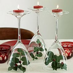 Christmas Table Decor Ideas - Holly Candleholders - Click pic for 29 Christmas Craft Ideas
