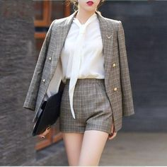 2017 New Short Pant Suits Women Casual Office Business Suits Formal Work Wear Sets Uniform Styles Elegant Pant Suits Korean Fashion Dress, Kpop Fashion Outfits, Suit Fashion, Asian Fashion, 80s Fashion, Fashion Online, Fashion Dresses, Cute Casual Outfits, Pretty Outfits