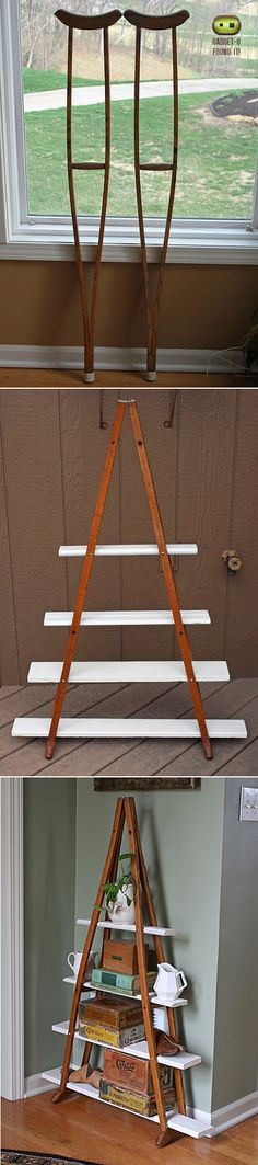 DIY shelf made of a pair of old wood crutches