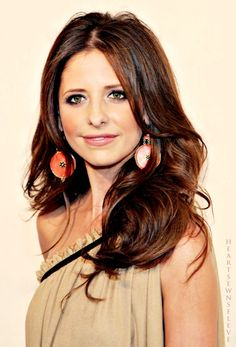 sarah michelle gellar.  Love the hair!! i'm pretty obsessed with brown on dark brown