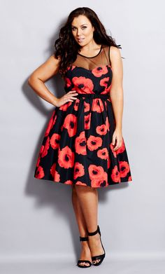 City Chic - SUPER POPPY DRESS  - Women's Plus Size Fashion