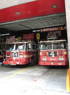 """FDNY - the best! Station 54 pride of midtown. Engine 54 and Ladder 4 and Midtown means Manhattan for folks who have never been near NYC aka """"The Big  Apple"""" and these trucks are red as apples. Be Careful out the folks."""