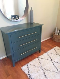 IKEA Hack   Forest Green Hemnes Dresser With Brass Pulls