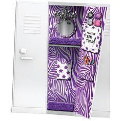 Totally Me! Wallpaper with Magnets - Purple Zebra Print Middle School Hacks, High School Hacks, Too Cool For School, School Tips, Locker Designs, Locker Ideas, School Locker Decorations, Locker Organization, Locker Accessories