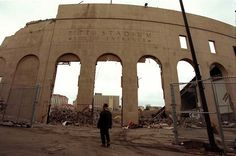 Feb. 16, 2000:  After 74 years as home to the Pittsburgh Panthers football team, Pitt Stadium was razed to make room for the Petersen Events Center. Little more than the facade remained when Post-Gazette photographer Darrell Sapp visited the site on a cold February morning.